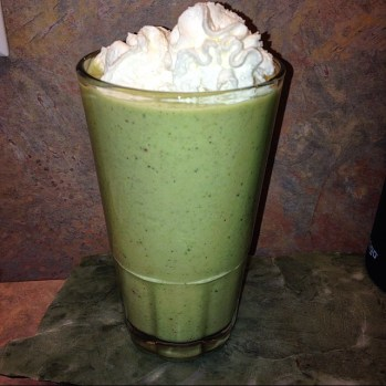 green protein smoothie vegetables spinach fruit