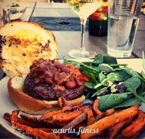 chili bacon bison burger garlic parmesan sweet potato fries white wine