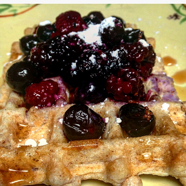 Mixed Berry Kodiak Cake High Protein Waffles